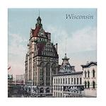 Grunge Wisconsin Flag Tile Coaster