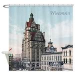 Grunge Wisconsin Flag Shower Curtain