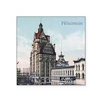 Grunge Wisconsin Flag Square Sticker 3