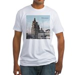 Grunge Wisconsin Flag Fitted T-Shirt