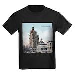 Grunge Wisconsin Flag Kids Dark T-Shirt