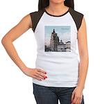Grunge Wisconsin Flag Women's Cap Sleeve T-Shirt
