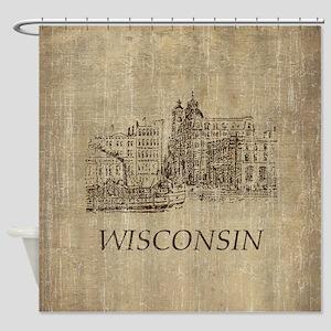 Vintage Wisconsin Shower Curtain