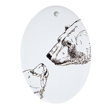 Polar Bear & Cub Oval Ornament