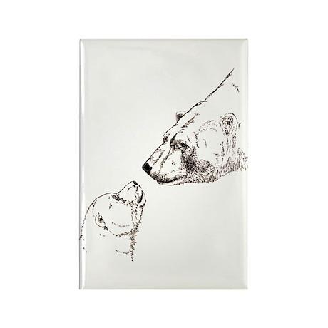 Polar Bear & Cub Rectangle Magnet (100 pack)