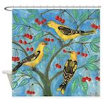 Birds in a Cherry Tree Shower Curtain