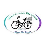 Watch for Bicycles Oval Car Magnet