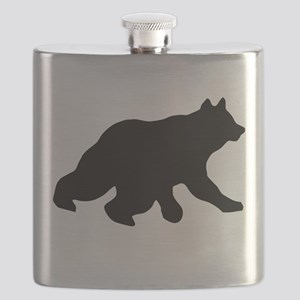 Black Bear Cub Crossing Walking Silhouette Flask