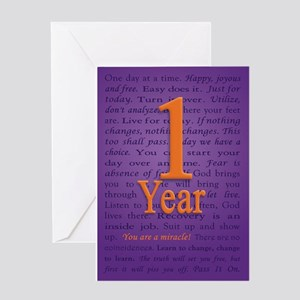 1 Year Recovery Birthday Greeting Card