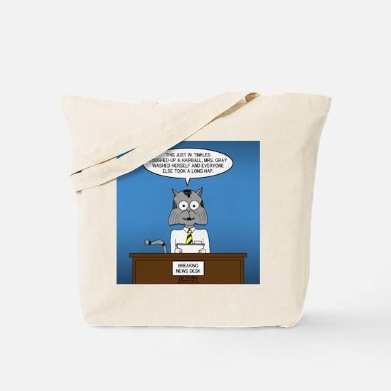 Cat Breaking News Tote Bag