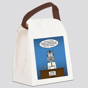 Cat Breaking News Canvas Lunch Bag