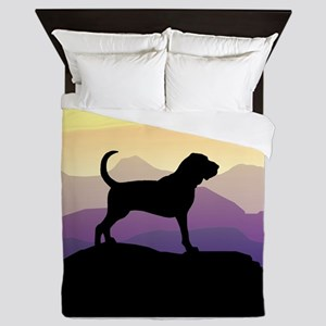 purple mountains bloodhound sq Queen Duvet