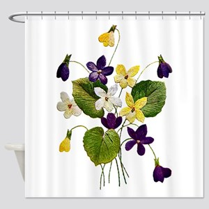 violets_Embroidery036 copy Shower Curtain