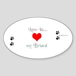 Briard love Oval Sticker