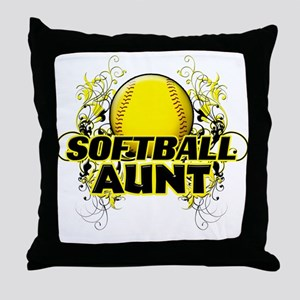 Softball Aunt (cross) Throw Pillow