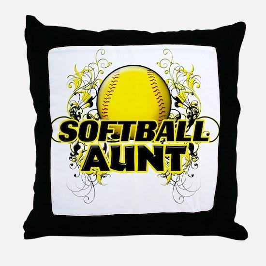 Softball Aunt (cross).png Throw Pillow