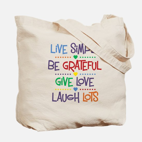 Live Simply Affirmations Tote Bag