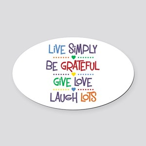 Live Simply Affirmations Oval Car Magnet