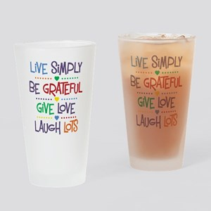 Live Simply Affirmations Drinking Glass