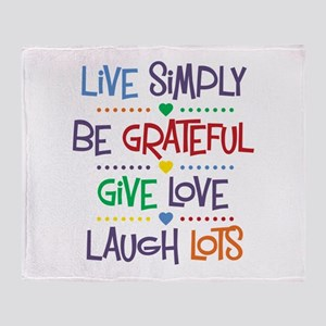 Live Simply Affirmations Throw Blanket