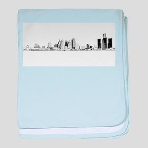 Detroit Skyline baby blanket