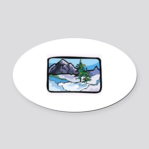 Mountain Oval Car Magnet