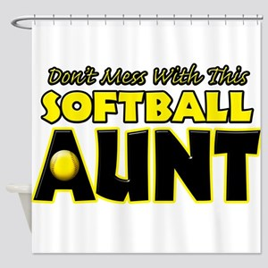 Dont Mess With This Softball Aunt Shower Curta
