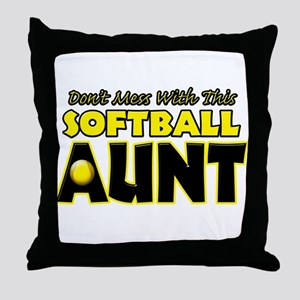 Dont Mess With This Softball Aunt Throw Pillow