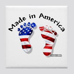 """""""Made in America"""" Baby Feet Tile Coaster"""