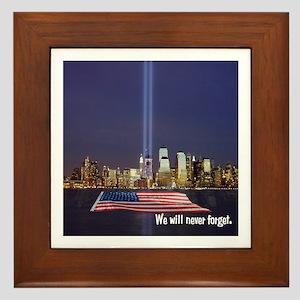 9/11 Tribute - Never Forget Framed Tile
