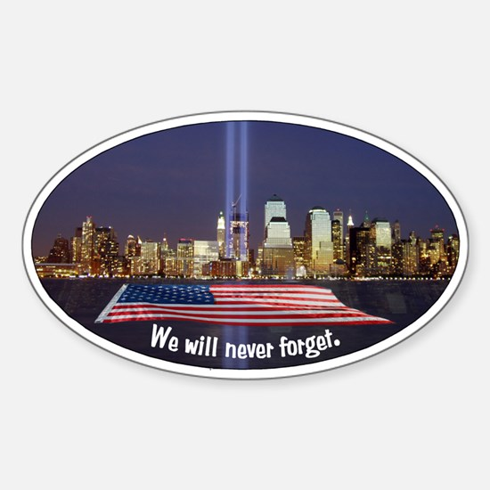 9/11 Tribute - Never Forget Sticker (Oval)