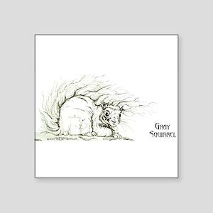 """Gray Squirrel 13x6 Square Sticker 3"""" x 3"""""""