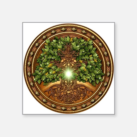 "Sacred Celtic Trees - Oak Square Sticker 3"" x 3"""