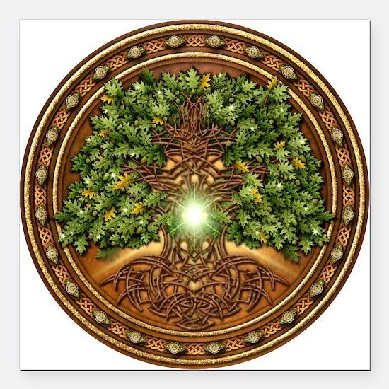 "Sacred Celtic Trees - Oak Square Car Magnet 3"" x 3"