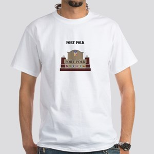 Fort Polk with text White T-Shirt