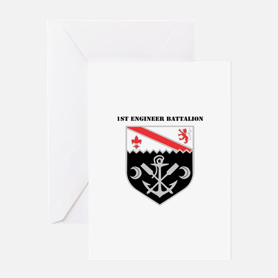 DUI - 1st Engineer Battalion with Text Greeting Ca