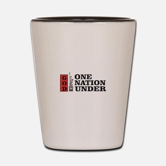 one nation under god liberty Shot Glass