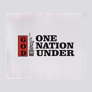 one nation under god liberty Throw Blanket