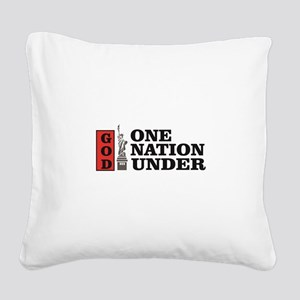 one nation under god liberty Square Canvas Pillow