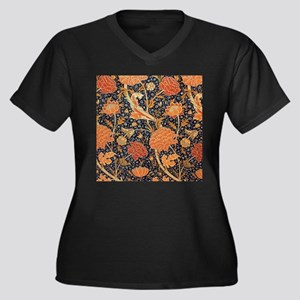 William Morris Women's Plus Size V-Neck Dark T-Shi