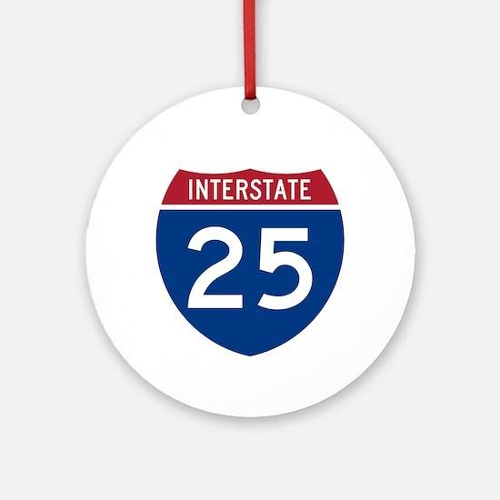 I-25 Highway Ornament (Round)