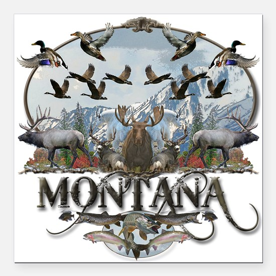 "Montana wildlife Square Car Magnet 3"" x 3"""