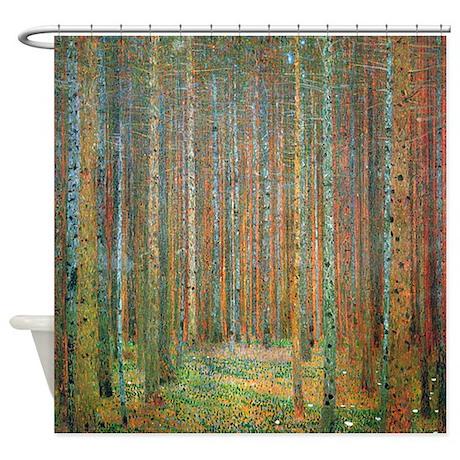 Artistic shower curtains Ocean Gustav Klimt Pine Forest Shower Curtain Cafepress Art Shower Curtains Cafepress