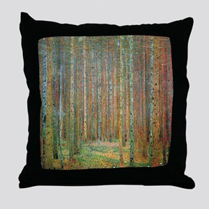Gustav Klimt Pine Forest Throw Pillow