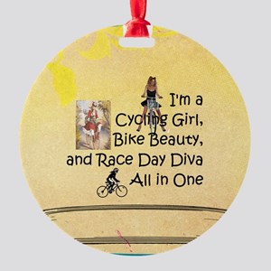 Cycling Race Diva Round Ornament