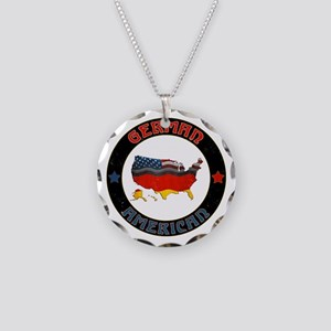 German American Flags Map Necklace Circle Charm
