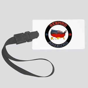 German American Flags Map Large Luggage Tag