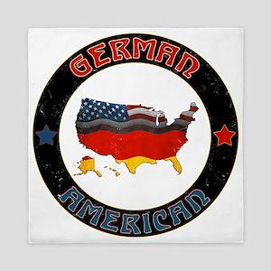 German American Flags Map Queen Duvet