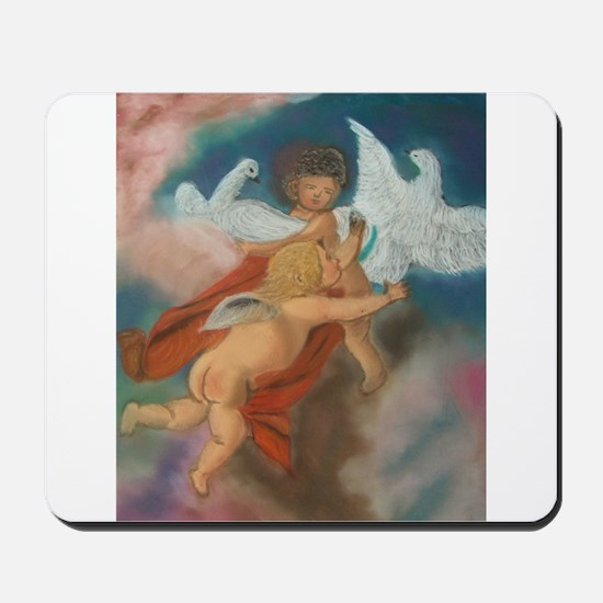 Cherubs and doves Mousepad