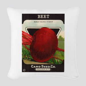 Beet Vintage Seed Packet Art Woven Throw Pillow